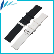 Silicone Rubber Watch Band 20mm 22mm for Omega Stainless Steel Pin Clasp Strap Wrist Loop Belt Bracelet Black White + Spring Bar 14mm silicone watch strap diver watch band rubber wrist watch bracelet with stainless steel buckle clasp and spring bar and tool