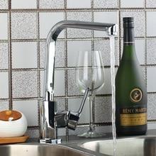 Современные специальные Дизайн кухонный кран хром полированный бортике одной ручкой на одно отверстие горячая холодная вода смеситель для кухни