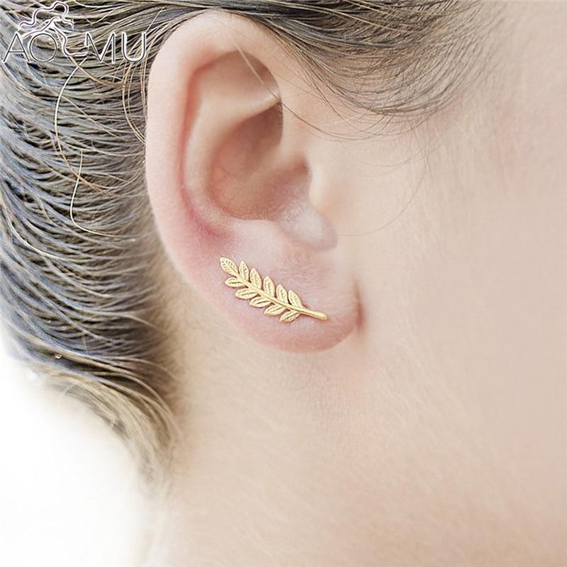 Strass Blatt Ohrringe Mode Blatt Ohr Clips Ohrstecker für Frauen