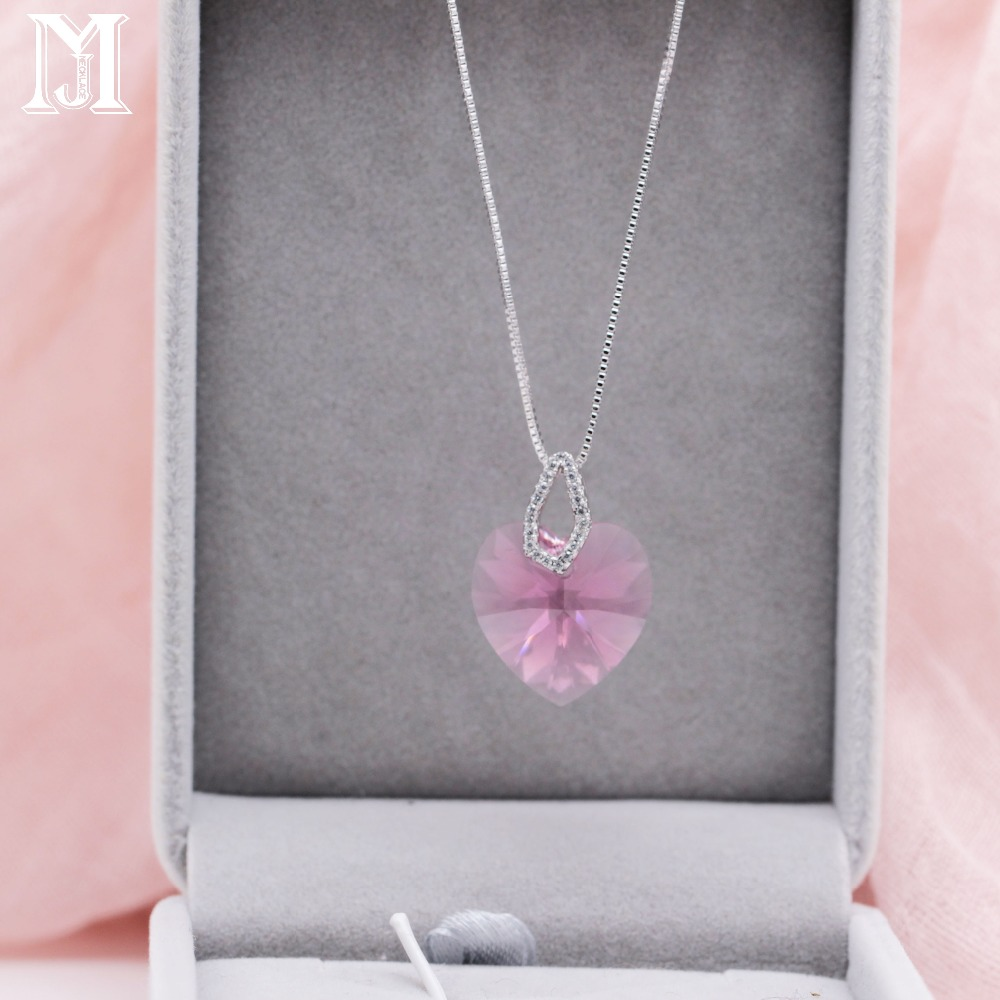 JiaMu romantic fashion Swarovski crystal heart necklace true plating chain for wowens gift party wedding hot jewelry earring