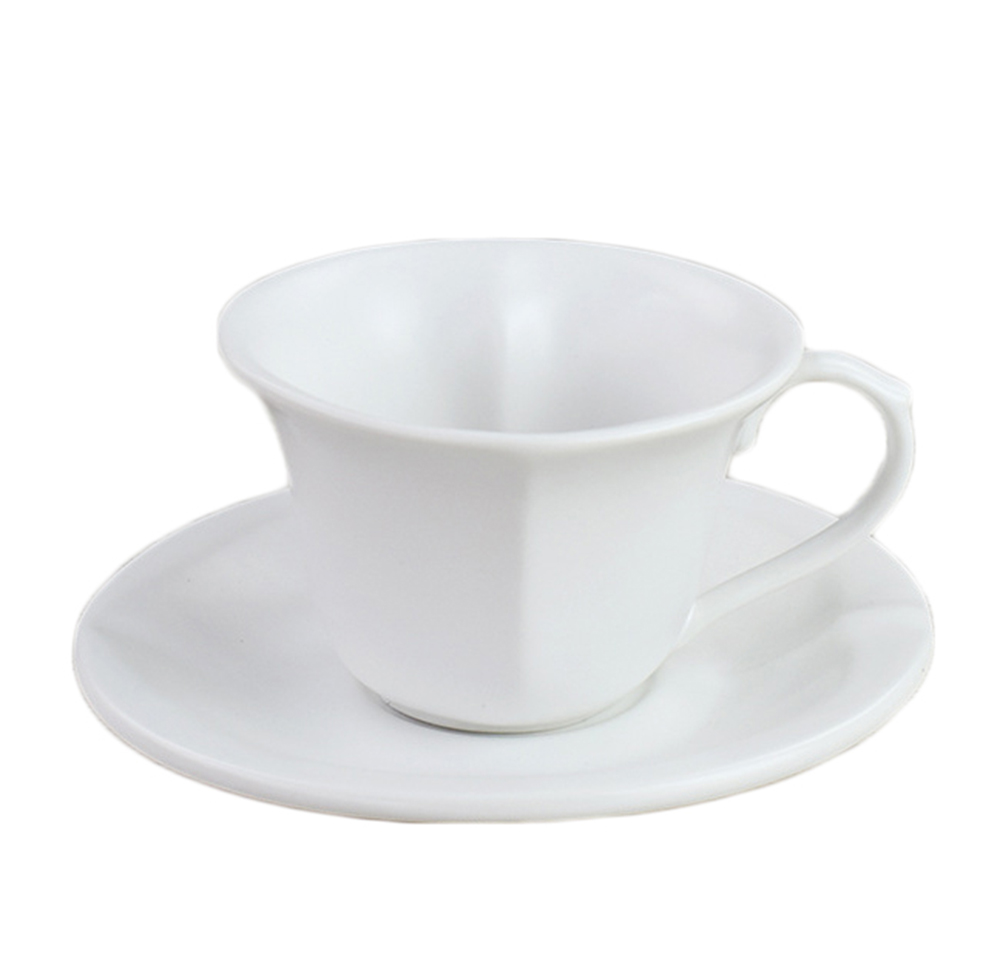 European Pure Color Heart Shaped Coffee Cup And Saucer