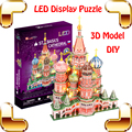 New Arrival Gift ST.Basil's Cathedral 3D Puzzles LED Display Model Building Toys Education DIY Stereopsis Training Handmade Game