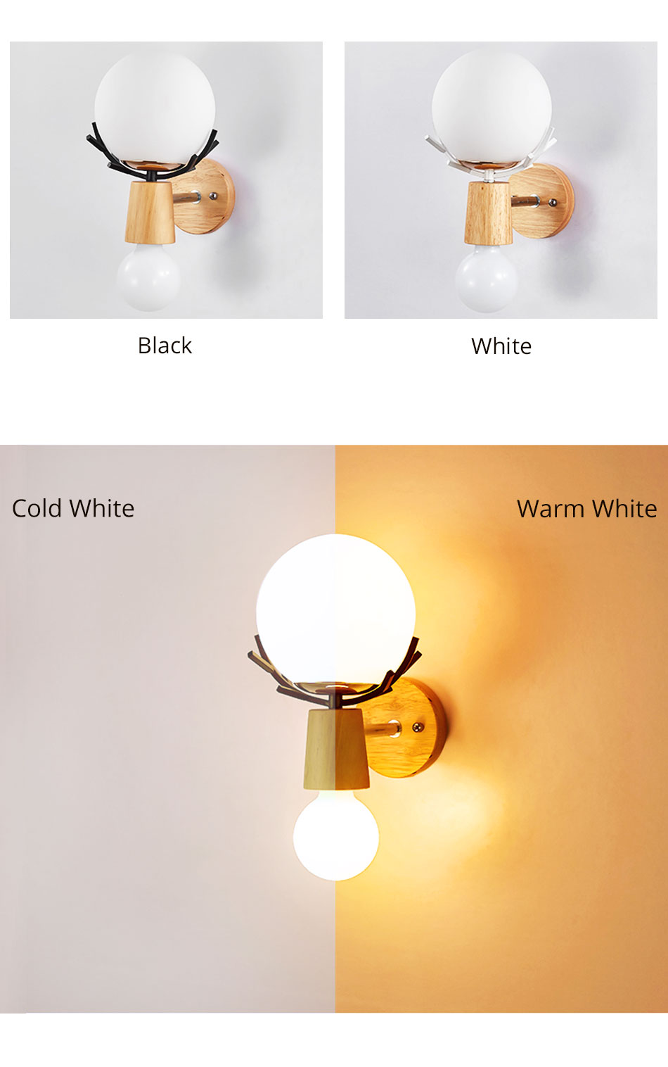 Creative LED Wall Light Sconces E27 Bulb Wood Retro Wall Lamps Hotel Home Living Room Bedroom bedside indoor lighting Fixture (3)