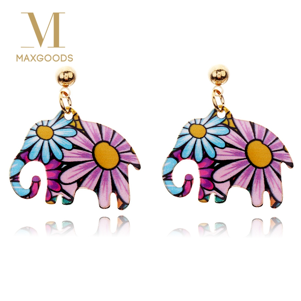 1 Pair Vintage Drop Earring Cute Big Long Elephant  Dangle  Earrings For Women New Fashion Animal Jewelry Girl Accessories