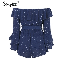 Simplee Off shoulder ruffle dot sexy jumpsuit romper women Flare sleeve sash summer jumpsuit Causul sweet chiffon playsuit