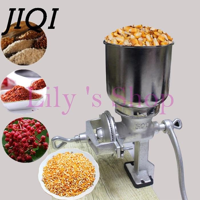 JIQI Mão-dobrado Moinho Triturador de Grãos de Amendoim Em Pó Máquina de Moer Feijão de Café Manual Moedor de Pimenta Tempero de Ervas Pulverizer