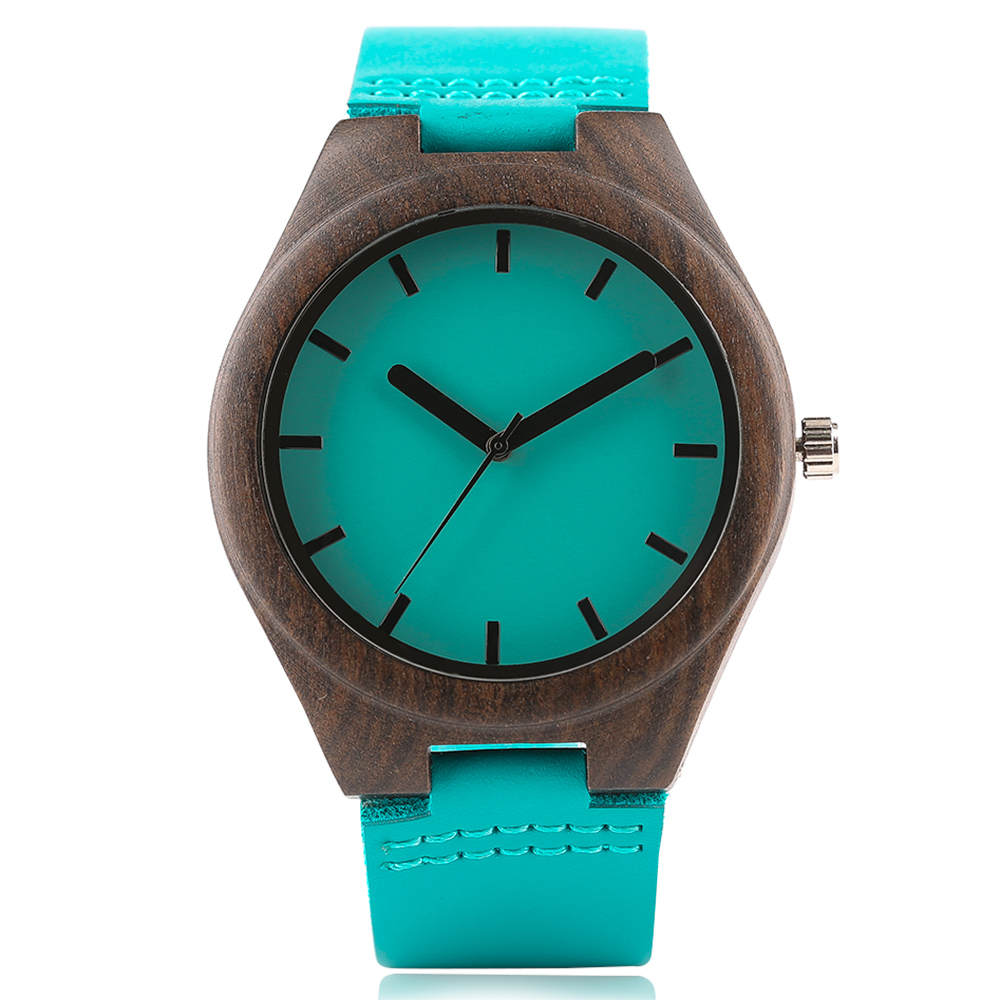 High Quality Creative Blue Wood Watch Simple Men's Watch Men Women Natural Sandalwood Quartz Wrist Watch 249901 Reloj de madera fashion top gift item wood watches men s analog simple hand made wrist watch male sports quartz watch reloj de madera