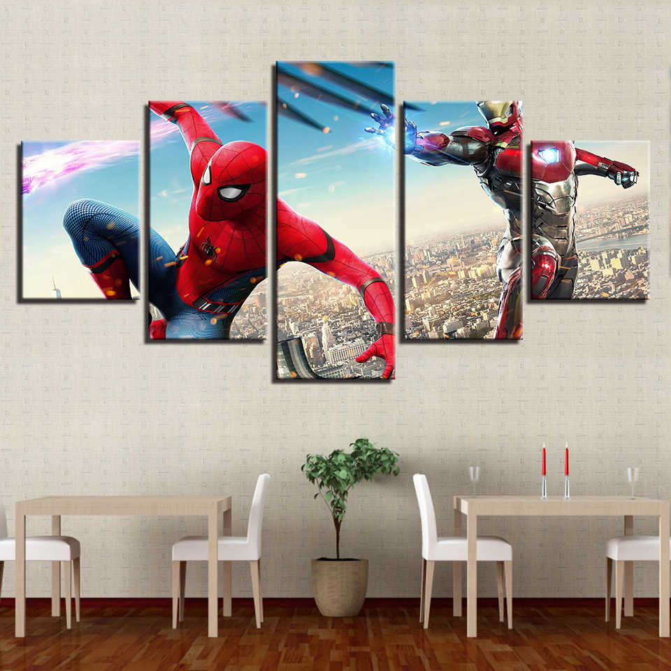 Canvas Wall Art Pictures Home Decor Spider Man Iron Man Paintings For Living Room HD Prints Movie Characters Posters Framework