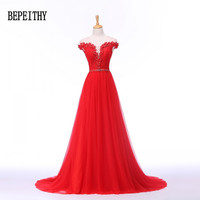 BEPEITHY Elegant Beads Cap Sleeve Red Long Evening Dress Flowers Tulle Robe De Soiree Ladies Party Dress Evening Gown 2019