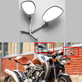 FREE SHIPPING MOTORCYCLE CHROME OVAL SIDE REARVIEW MIRRORS FOR CRUISER CHOPPER 10MM HONDA KAWASAKI DUCATI HARLEY SUZUKI CUSTOM