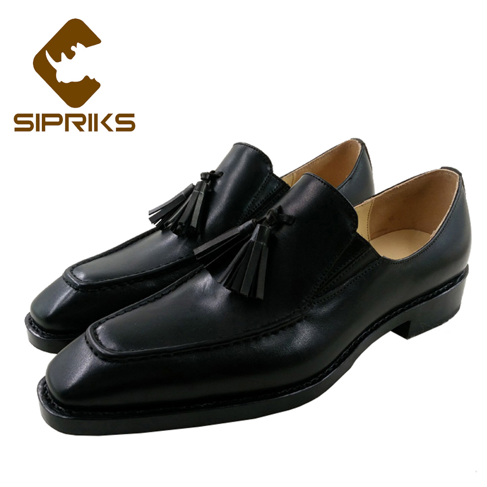 a2648be406960 Sipriks Mens Black Tassel Loafers Italian Custom Goodyear Welted Shoes  Leather Sole Slip On Dress Shoes Mens Topsiders Flats New