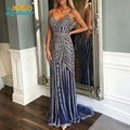 Heavy beaded Mermaid Prom Dresses 2017 Sexy V Neck Spaghetti straps Crystal Long Prom Party Gowns Formal Robe De Soiree