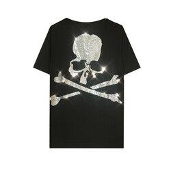 DUYOU Heren Designer T-shirts 2019 Strass Grote Schedel Korte Mouw T-shirts Zomer Hip Hop 100% Katoen Tops Tees Streetwear