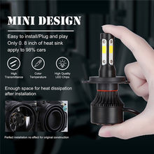 2pcs LED Headlight Auto Bulbs 4 Sides LED Headlamp Conversion Kit H7, H8/9/11, 9005/HB3, 9006/HB4, H4/HB2 Waterproof Headlights(China)