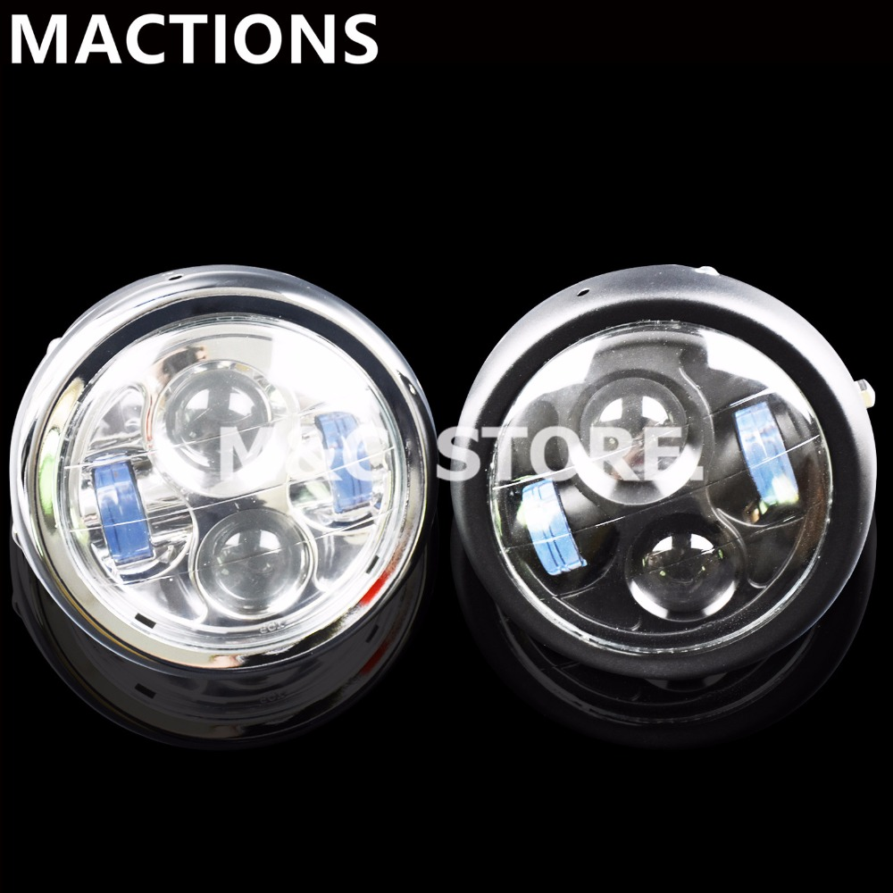 Universal Motorcycle 6.5 LED Projection Headlight For Harley Bobber HALO Ring Black/ChromeUniversal Motorcycle 6.5 LED Projection Headlight For Harley Bobber HALO Ring Black/Chrome