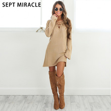 SEPT MIRACLE Sweater Dress Women 2017 New Fashion Winter Cotton Sheath Casual Sexy Solid Lacing Long Knitted Female Knit Dresses
