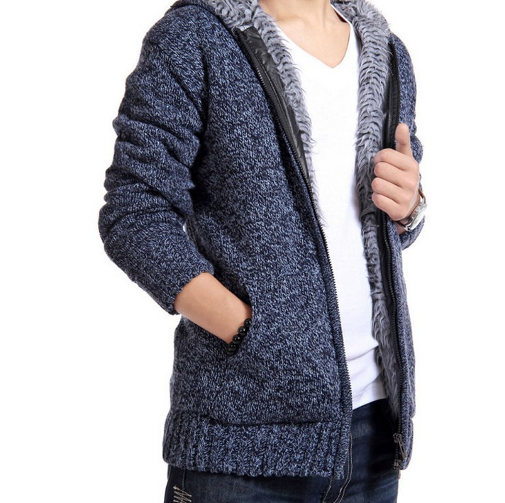 New Winter Fashion Men's Plush Liner Thick Knitted sweater Men ...