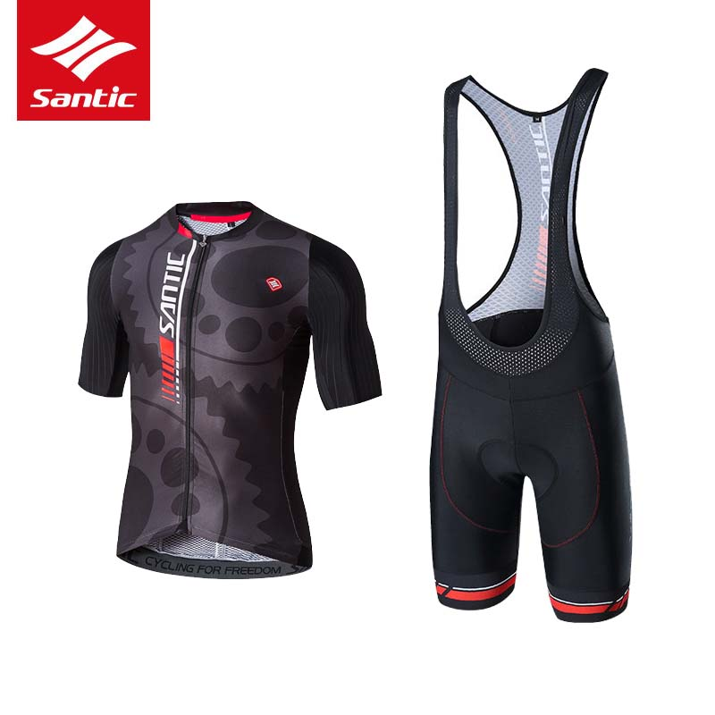 Santic Men Pro Team Cycling Jersey Set 2017 Triathlon/Tour de France Cycling Skinsuit 4D Pad Breathable MTB Bike Bicycle Jersey santic men cycling jersey 2017 tour de france mtb road bike jersey anti shlip sleeve cuff bicycle top riding shirt cycle clothes