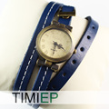 Blue Leather Vintage Woman Fashion Ladies Dress Women Quartz Analog Gift Wrist Watch