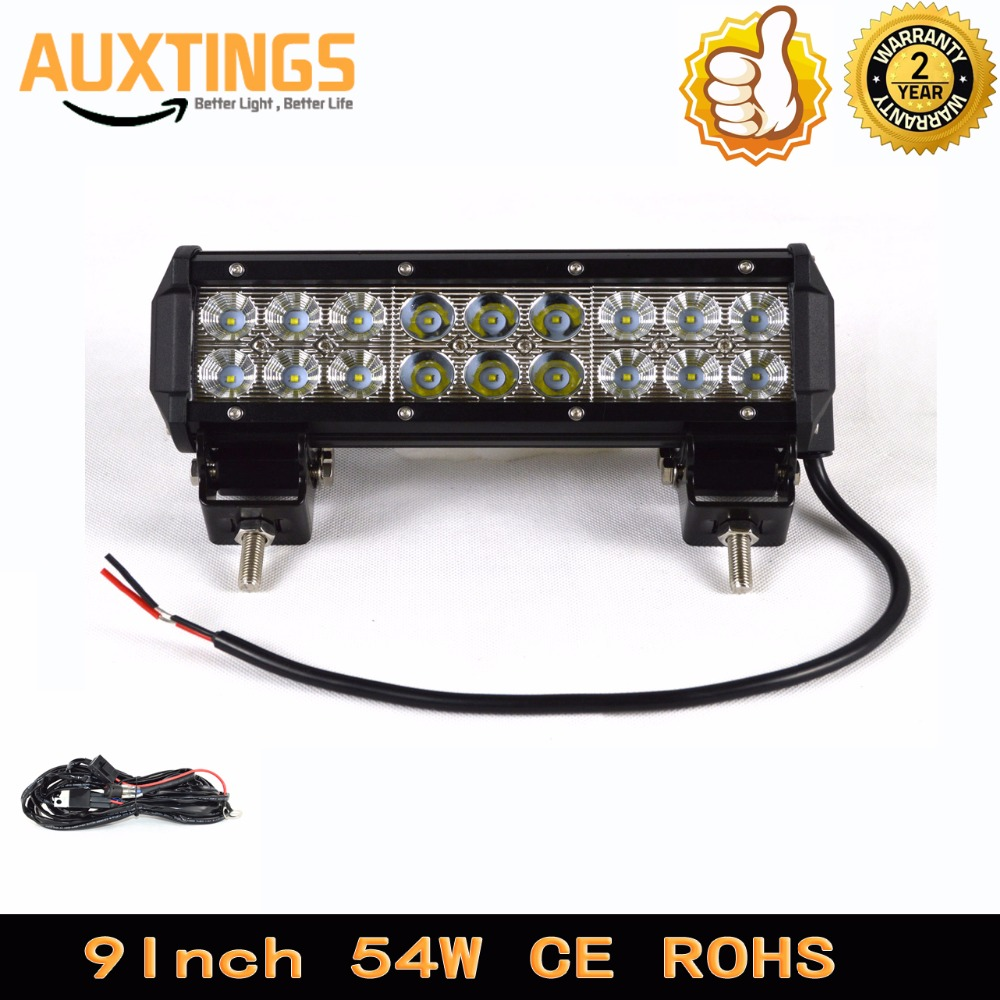 Free Shipping 9inch 54w Combo Beam With Wiring Led Light Bar 12v 24v Bars For Trucks Ip67 Car Roof Top In Work From