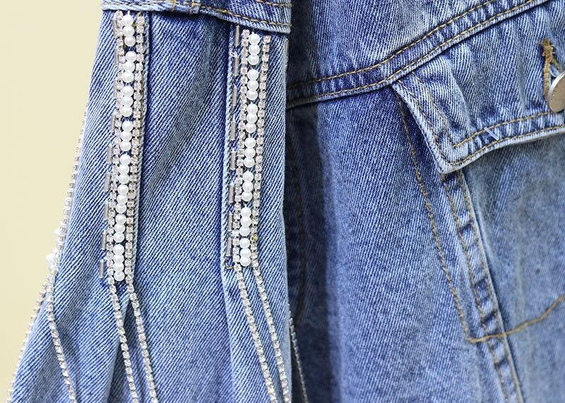 Femme Manches Sac Diamant Vestes Lâche De Base Manteaux Cow Denim Longues 2019 À Veste Gland boy Bleu Courtes Nouvelle Loisirs Manteau Kelly Fx8wdaA