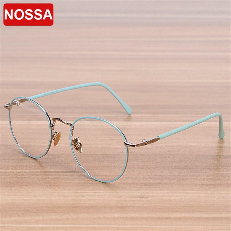 NOSSA Brand Glasses Frame Women Men Retro Round Metal Eyeglasses Frames Students Myopia Spectacle Frame Blue White Pink Brass