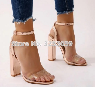 Almudena Ladies Rose Gold Metallic Chunky Heel Sandals Patent Leather Clear Pvc Single Strap Dress Shoes Champagne Gold Heels Leather Bag