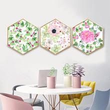 Hexagon decorative painting with frame Nordic style Hanging pictures Creative personal Living room green plant flower
