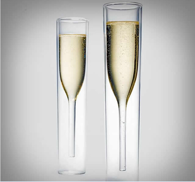 2x Fashion Luxury Double Layer Deck Two-tier Inside Out Champagne Wine Glasses Wedding Gifts <font><b>Red</b></font> Wine <font><b>Cup</b></font>
