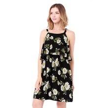 summer women middle length dresses cotton linen slim lovely floweprint seaside holiday beach clothes fashion spaghetti strap goo
