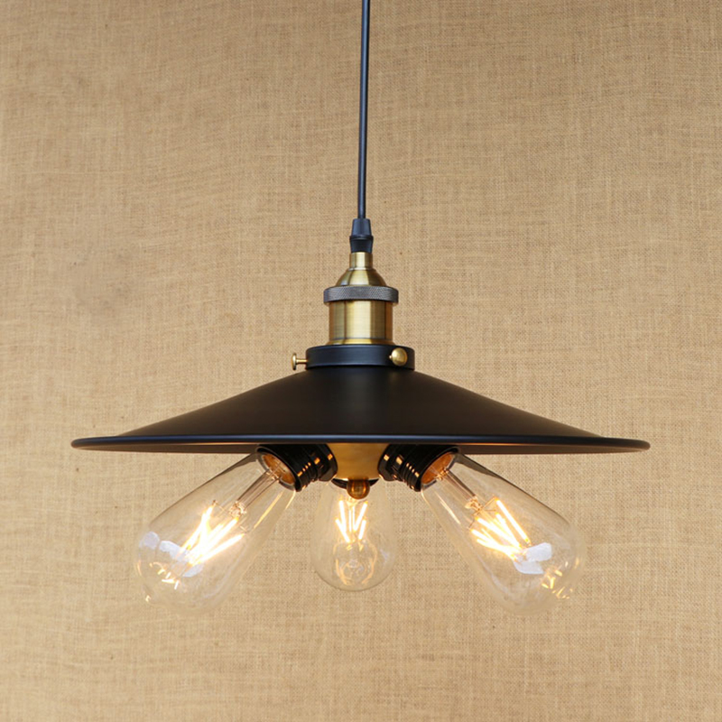 Modern black metal pendant lamp E27 Edison 3 lamp Pendant Light Fixture For Kitchen Lights Cabinet Living/dining room/bar 220V edison inustrial loft vintage amber glass basin pendant lights lamp for cafe bar hall bedroom club dining room droplight decor