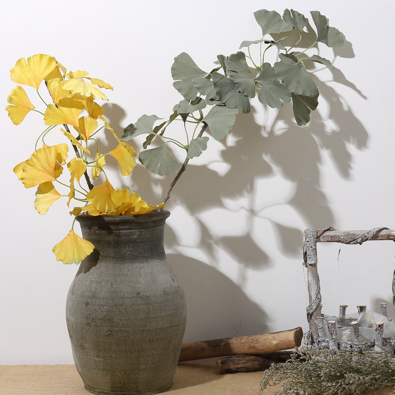 Artificial Ginkgo biloba plant plastic Green grass plant for office home table decoration Flower arrangement plant