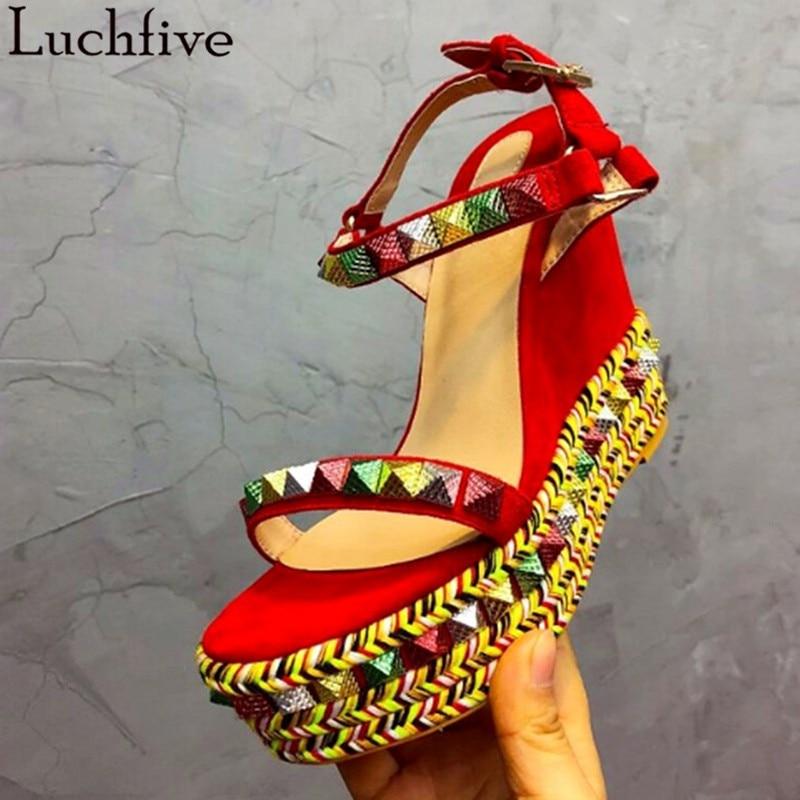 Luchfive Rivets Platform Wedges Sandals Women Runway Summer Party Shoes Colorful Bands Weaves Open Toe Bling