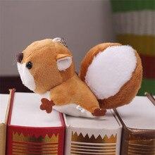 Fashion Cute Plush Squirrel Key Chain Women Fluffy Faux Rabbit Fur PomPom Toy Keychain On Bag Car Doll Trinket Wedding Gifts