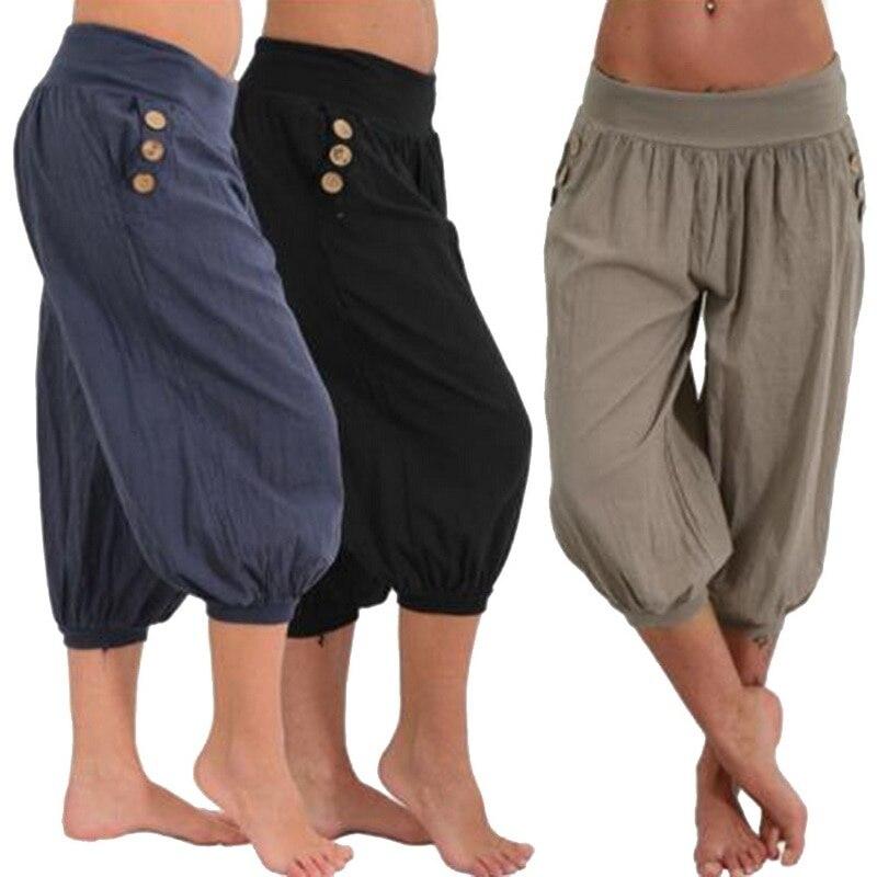 CALOFE Solid   Pants   Women 2019 Loose Wide Leg   Pants     Capris   Bloomers Trousers Knee Length Female Bottoms Plus Size M-5XL