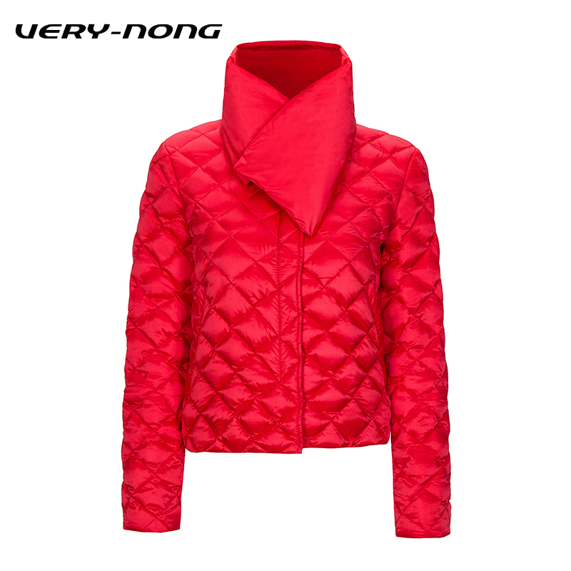 VERY-NONG Women Ultralight Down Jacket and Coat Lady 2018 Slim 90% White Duck Down Puffer Jacket With Scarf Parka Mujer