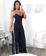 Elegant Striped Sexy Women Jumpsuit Backless Bandage Hollow Out Rompers Split Hole Pants Full Length Black Casual Club Jumpsuits
