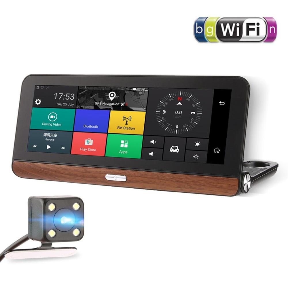 hd 1080p 7 inch touch screen car dvr smart car rear view mirror video record camera dash cam bluetooth hands free [ 1000 x 1000 Pixel ]