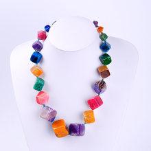 Ожерелье женское из полудрагоценного камня многоцветное колье