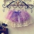Retail children lace skirt Baby tutu skirt 2015 pink cake tutu girls skirts 2T-8 saia ballet skirt fantasia free shipping