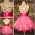 New 2015 Hot Sell Cheap Knee Length Cocktail Party Dresses Scoop Beaded Crystals Sequins Tulle Homecoming Prom Gowns