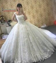 2019 di Lusso del Treno Lungo Vestito Da Cerimonia Nuziale Che Borda Completa gelinlik matrimonio abito da sposa