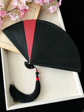 Retro Chinese Style Small Folding Fan Japanese Bamboo Craft Red Mini Portable Hand Held