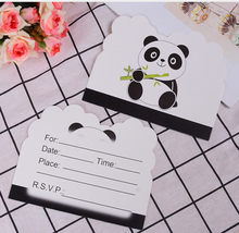10pcs/lot Disposable Invitations Cartoon Panda Theme Birthday Party Invitation Cards Decorations Kids Party Supplies(China)