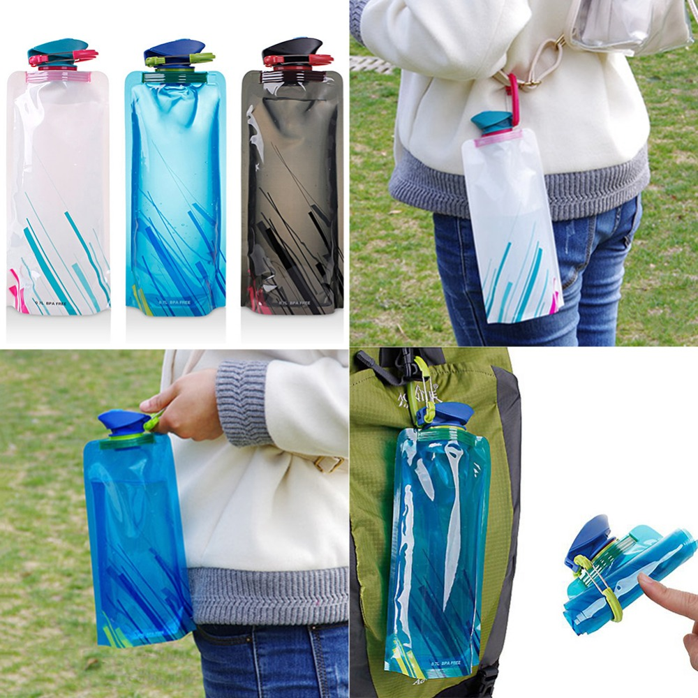 Reusable 700mL Sports Travel Portable Collapsible Folding Drink Water Bottle Kettle Outdoor Sports Water Bottle BPA Reusable 700mL Sports Travel Portable Collapsible Folding Drink Water Bottle Kettle Outdoor Sports Water Bottle BPA free