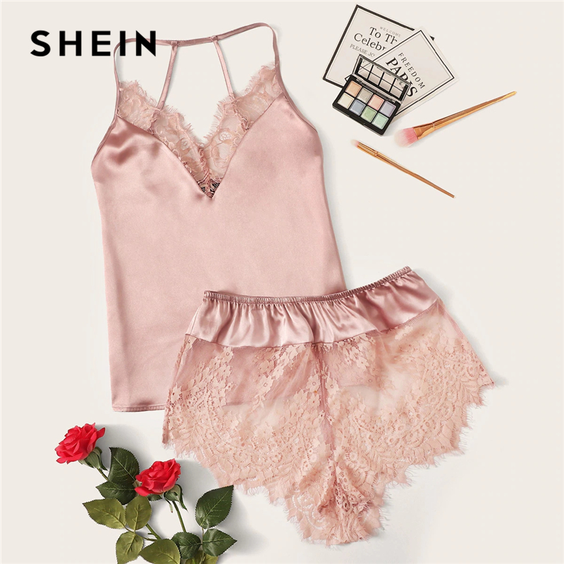 SHEIN Lace Trim Satin Cami Top And Shorts Pj Set Set 2019 Sexy Wireless Lingerie Sets Summer Satin Women Sleepwear