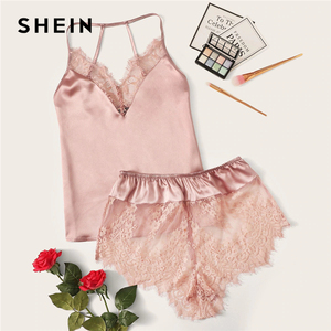 Image 1 - SHEIN Lace Trim Satin Cami Top and Shorts Pj Set Set 2019 Sexy Wireless Lingerie Sets Summer Satin Women Sleepwear