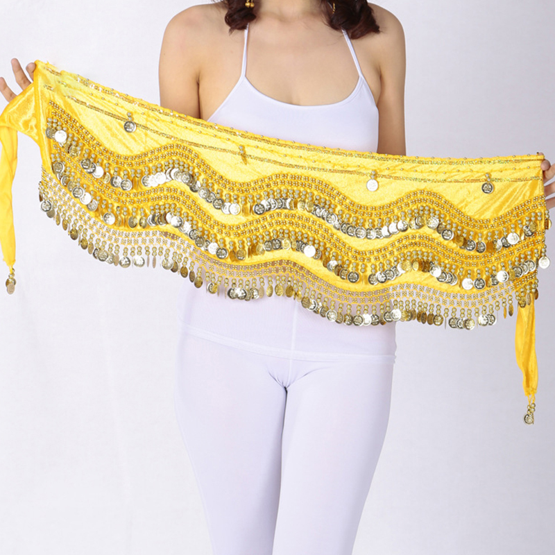 1pcs Belly Dance Hip Skirt Scarf Wrap Belt With Golden Silver Coins 248 Dancing Costume Hip Novelty Clothes Dancing Accessories