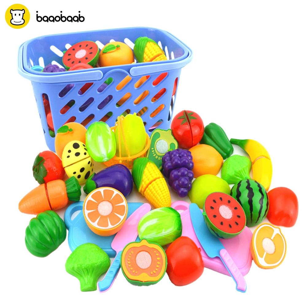 Baaobaab SGQ1 12-24 Pcs/Set Plastic Fruit Vegetables Cutting Toy Magic Tape Early Development Education Toy Baby Color Random стоимость