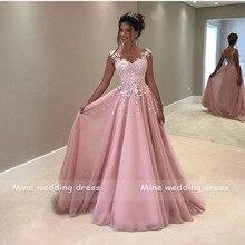 Princesse rose Robe de mariée Robe de Mariee robes de mariée chérie sans manches longueur de plancher dentelle Robe de mariée